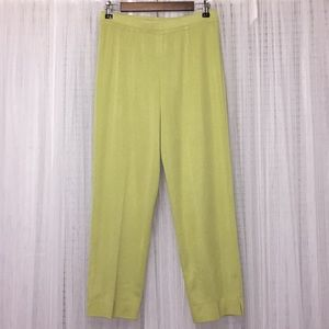 Exclusively Misook Green Acrylic Pants Size S
